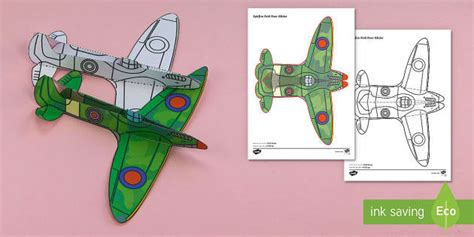 How To Make A Paper Spitfire - simple ww2 spitfire glider activity paper craft