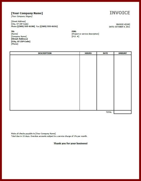 invoice template free printable simple invoice doc rabitah net