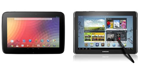 android vs windows tablet 10 inch android tablet tussle nexus 10 vs samsung galaxy note 10 1