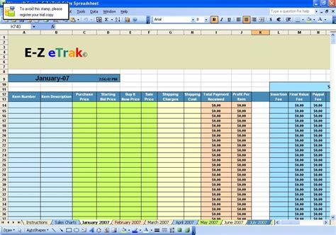 ebay excel template e z etrak sales spreadsheet for ebay 2007 software