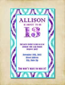 13th birthday invitation purple aqua by ashleymartindesigns 7 00 kota s 13th