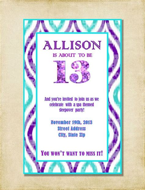 printable birthday invitations for 14 year olds girl 13th birthday party invitation purple aqua by