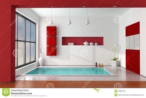 Contemporary Bathroom Decor cuarto de ba 241 o de lujo rojo y blanco fotos de archivo