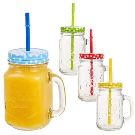 jars with straws 4 x 400ml glass cups jars with handle straw jar colour lids set ebay