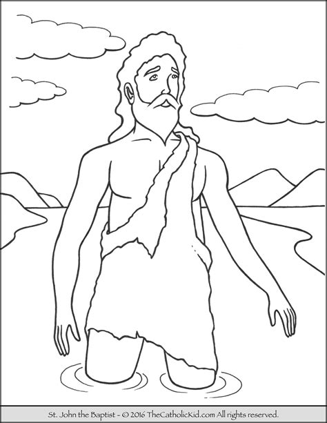 john the baptist in river coloring page coloring page