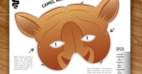 printable camel mask template camel mask photo booth prop costumes for kids
