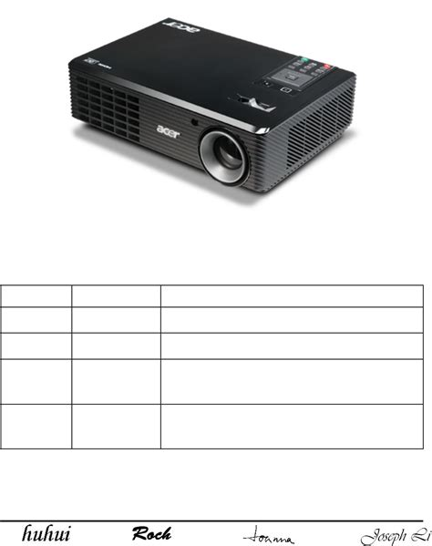 Lu Projector Acer X1161n acer projector x110 user guide manualsonline