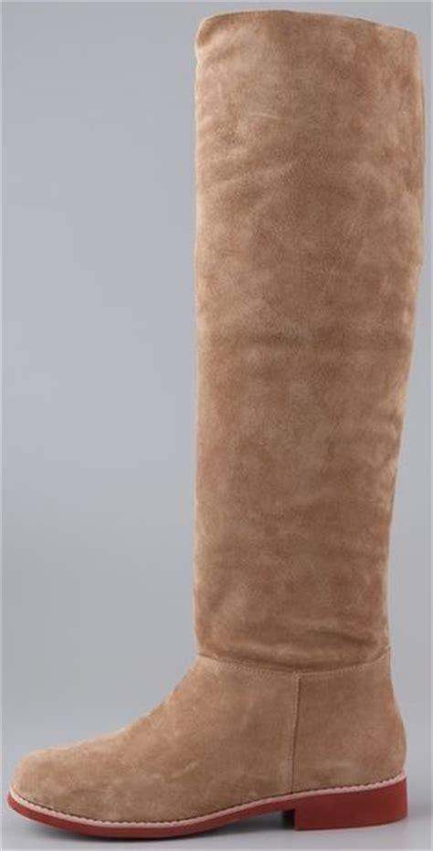 kors by michael kors nanette suede flat boots in beige