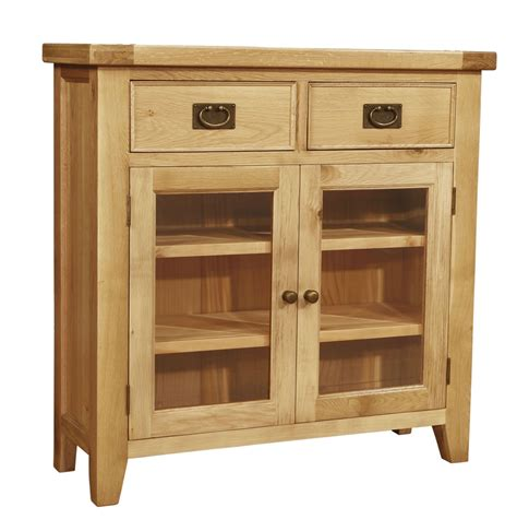 Chiltern Oak Small Sideboard/Bookcase with Glass Doors