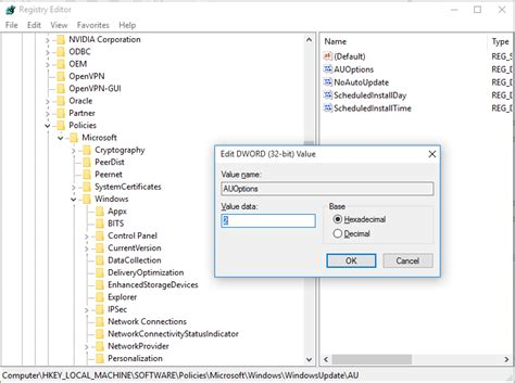 install windows 10 regedit how to disable windows update in windows 10 rtm