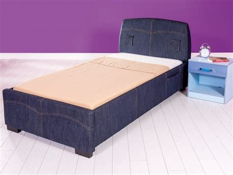Gfw Denim 3ft Single Blue Upholstered Fabric Bed Frame By Gfw