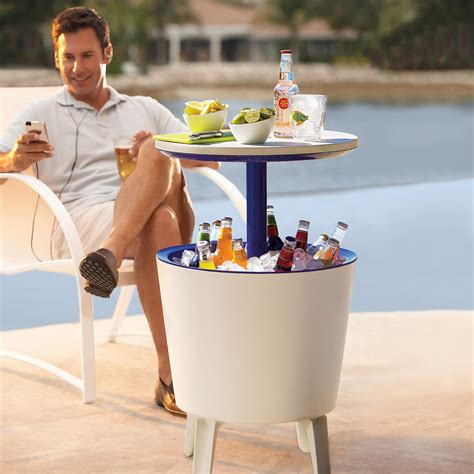 Patio Cooler Table Outdoor Side Table Beverage Cooler The Green