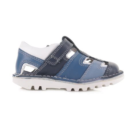 kickers toddler sandals kickers infant boys sundal leather blue sandals shoes