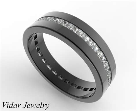 black gold baguette cut wedding band for