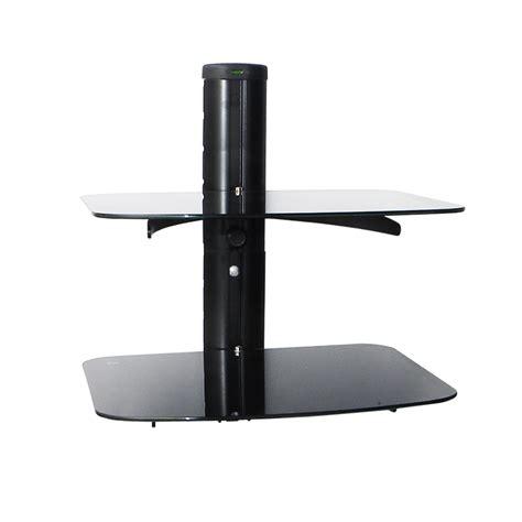 Dvd Player Floating Shelf by Black 2 Tier Tempered Glass Adjustable Floating Shelves Tv