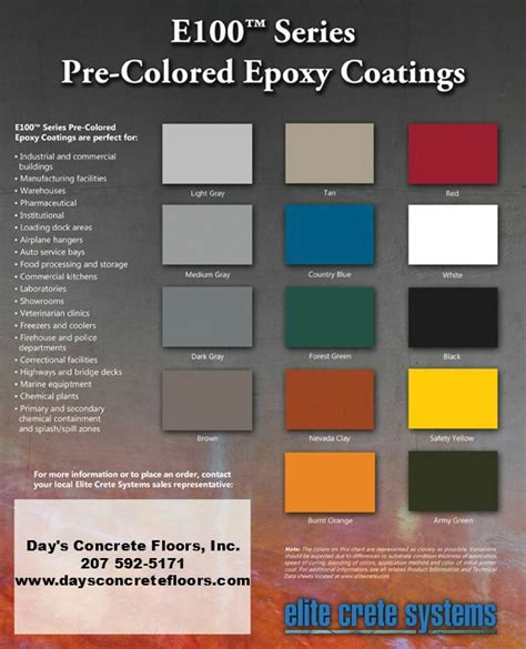epoxy color chart epoxy floor paint color chart