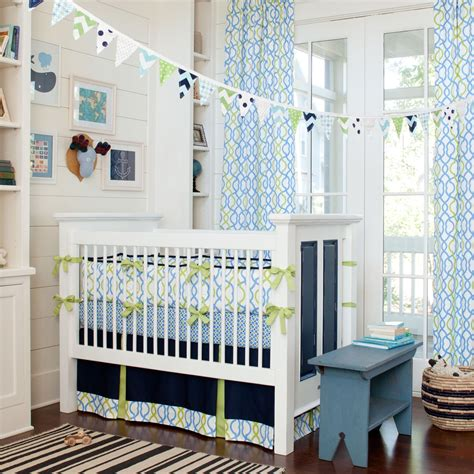 Trendy Nursery Decor Cool Modern White Gloss Wooden Cribs For Baby Boy Decorating Ideas With Trendy Blue Themed