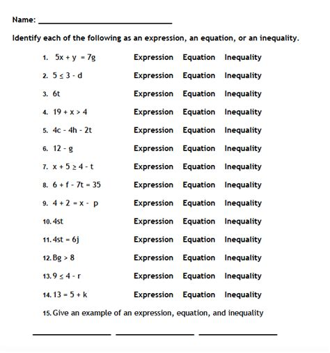 Equation And Inequalities Worksheets by Expressions Equations And Inequalities Worksheets