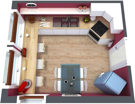 1 Room Floor Plans 3d - kitchen floor plan roomsketcher