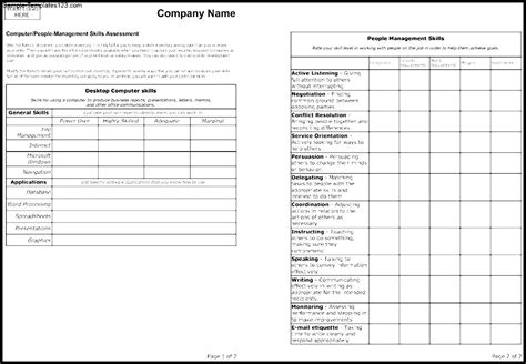 skill assessment template skills assessment form template sle templates