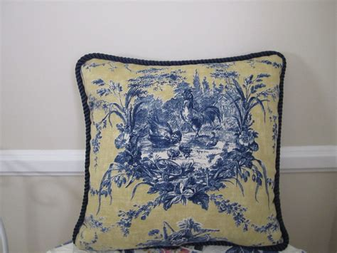 Toile Pillows by Waverly La Ferme Blue Yellow Gold Rooster Country Toile Pillow Ebay