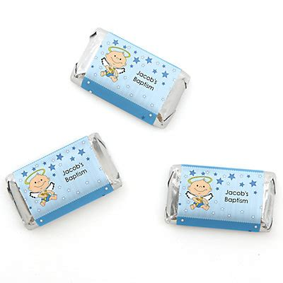 Giveaways For Christening Baby Boy - angel baby boy personalized baptism mini candy bar wrapper favors 20 ct