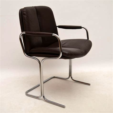 set of 4 retro leather chrome dining chairs by pieff vintage 1970 s retrospective interiors Retro Leather Dining Chairs