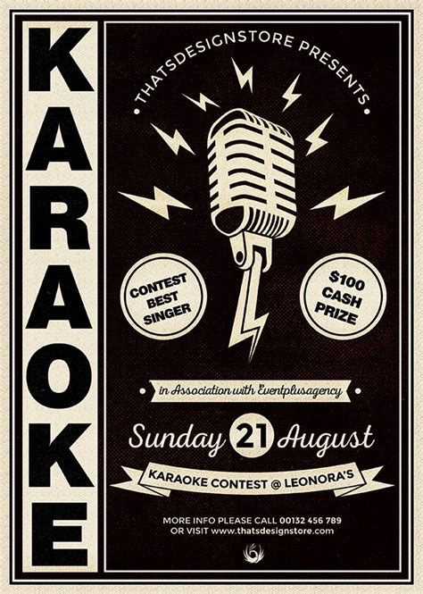 flyer template karaoke night party 3 flyers psd karaoke flyer templates thatsdesignstore
