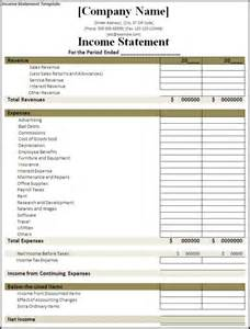 company profit and loss statement template exle of profit and loss statement template or income