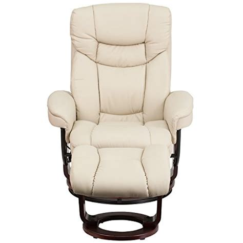 Modern Leather Recliner With Ottoman Flash Furniture Contemporary Beige Leather Recliner And Ottoman With Swiveling Mahogany Wood Base