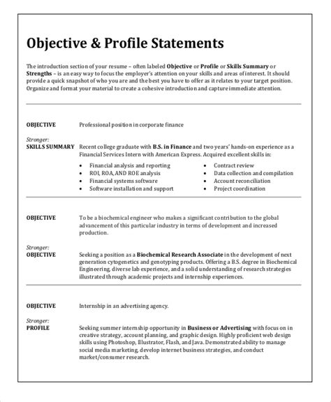 resume and objective ideas