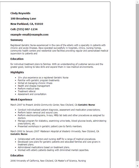 Geriatric Social Worker Cover Letter by Geriatric Resume Template Best Design Tips Myperfectresume