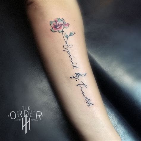 small writing tattoo small flower and writing the order the order