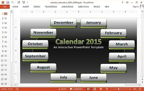 Interactive Calendar 2015 Powerpoint Template Interactive Powerpoint Presentation Templates