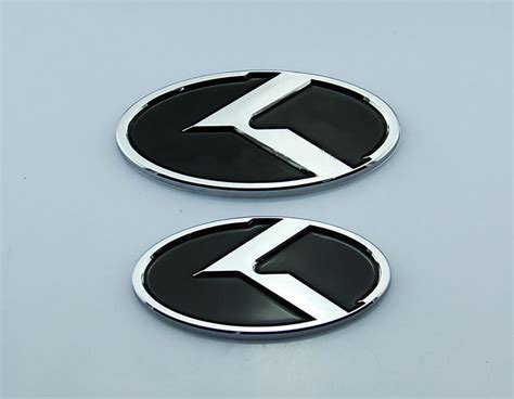 Kia K Logo Emblems 2pcs New Car K Logo Kia Front Rear Emblem Badge Sticker