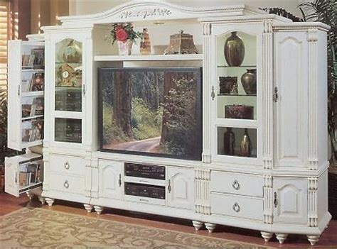 Cottage Livingroom Antique White Entertainment Center Quot Cottage For The Home