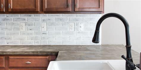 faux white brick backsplash remodelaholic diy whitewashed faux brick backsplash