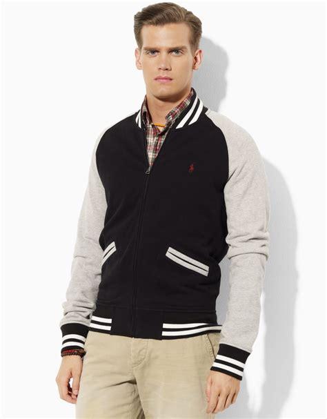 Jaket Basball Merah Putih Polos 1 polo ralph fleece baseball jacket in black for polo black lyst
