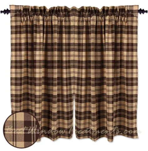 brown check curtains millville check brown tier curtains