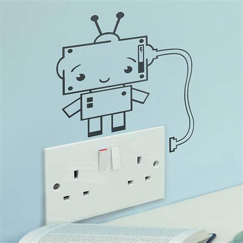 robotic wall robot plug socket vinyl wall sticker by oakdene designs