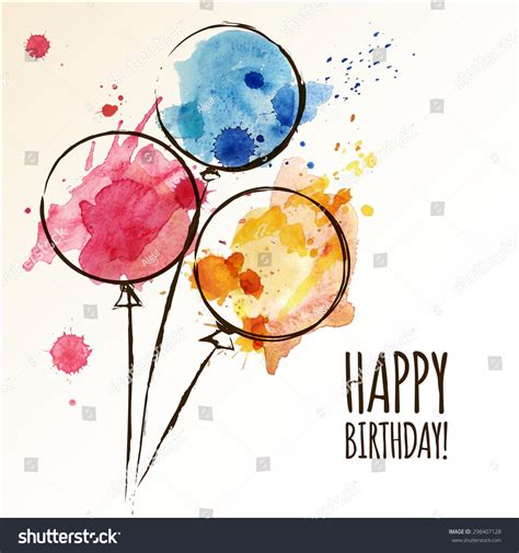 balloon doodle vector free happy birthday card with doodle balloons