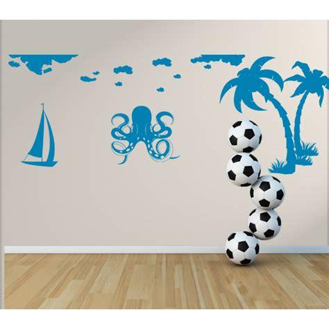 bild kinderzimmer segelboot wandtattoo kinderzimmer krake mit tentakel palmen und