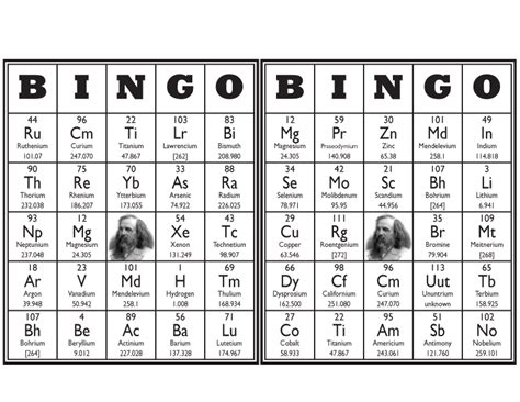 free printable periodic table games periodic table bingo
