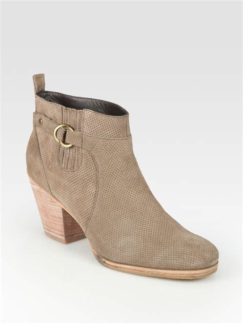 comey boots comey perforated suede ankle boots in beige sand