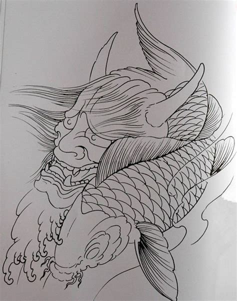 japanese koi fish tattoo outline designs pictures to pin