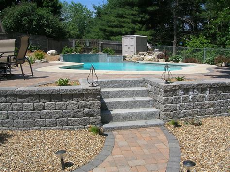 Patios And Pools Ever Green Yards Stonescapes Backyard Pool And Patio