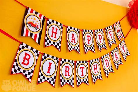 printable cars birthday banner owlie powlie