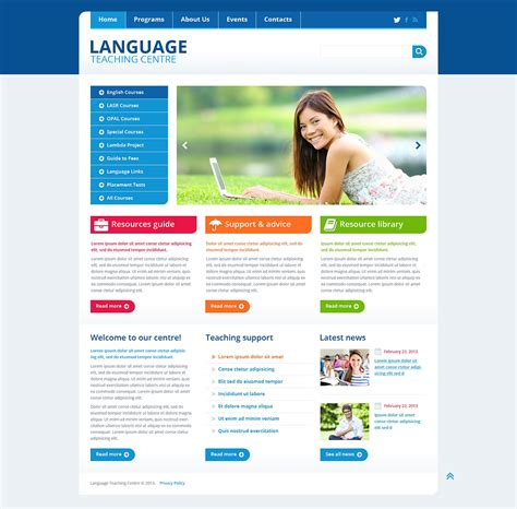 language school responsive website template web design