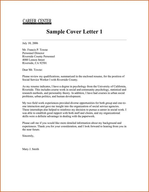 Cover Letter Ontario Exles Social Work Cover Letter General Resumes