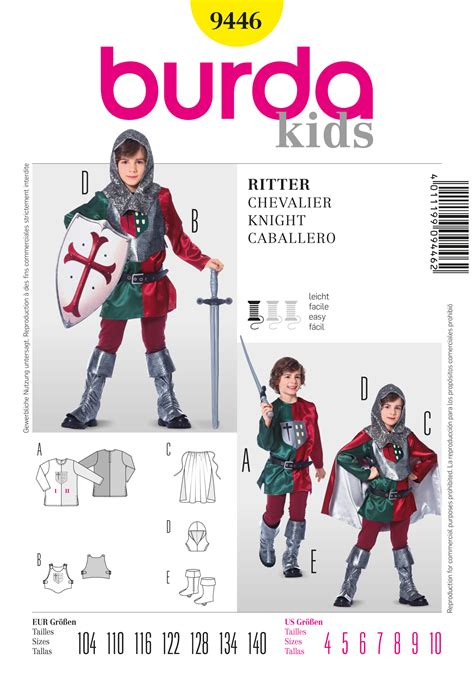 pattern of review article burda 9446 knight costume